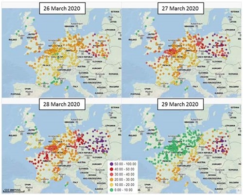 Elevated PM2.5 (µg/m3) levels across norther Europe's monitoring networks